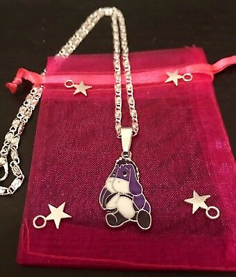 """EEYORE DISNEY Winnie The Pooh Charater PENDANT Charm 16"""" Silver Plated Necklace"""