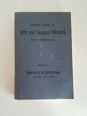 1959 THE GRAND LODGE FREE AND ACCEPTED MASONS of Pennsylvania book