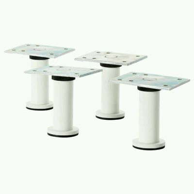 4x Small IKEA CAPITA 8-9cm white Kitchen Cabinet Legs for METOD System