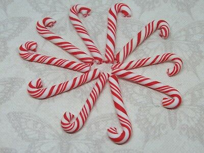 10 Small Candy Cane Fimo Clay Christmas Embellishment Cabochon Decoden Craft Bow