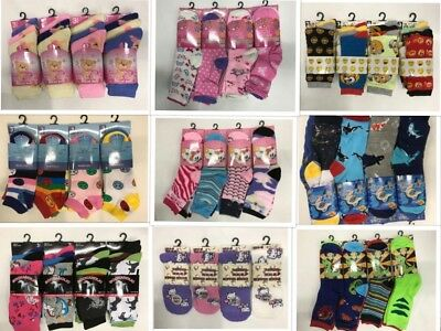 BOYS AND GIRLS  COLOURED  NOVELTY FASHION FUNKY KIDS DESIGN SOCKS Lot