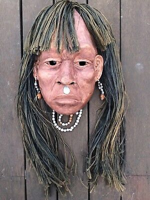 Peruvian Mask shipibo Peru Vintage Antique Carved Wood hair repro? Iquitos