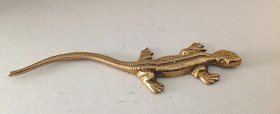 Hand Cast Brass Vintage Style Lizard Gecko Skink Paperweight Decoration Nature