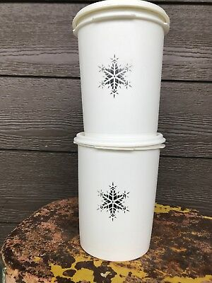 Vintage Tupperware White Servalier Snowflake Small Canister Lot of 2 811-3