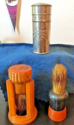 Vintage Shaving Brushes And Colegate And Co. Shaving Stick Tin (Empty)
