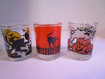 Set of 3 Halloween Glass Votive Candle Holders Witch, Ghost, Black Cat, Bats