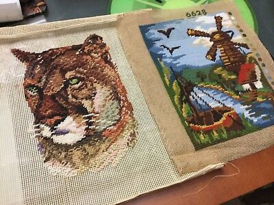 Choice of 3 unfinished TAPESTRY NEEDLEPOINT, image area 24 x 18cm, cat 30x22cm