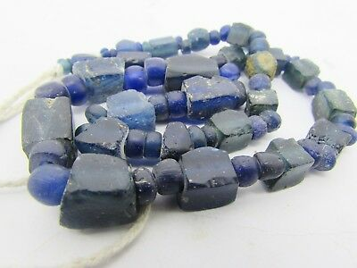Ancient 73 Roman Glass rare beads of string in lapis colors from Afghanistan
