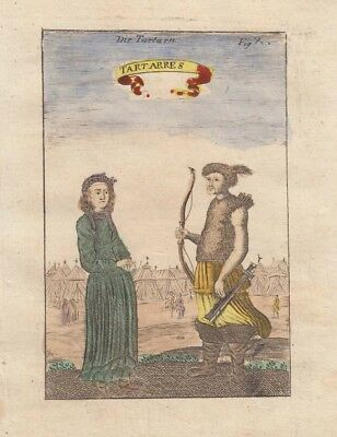 1685 Colourful Mallet Engraving of Tartars