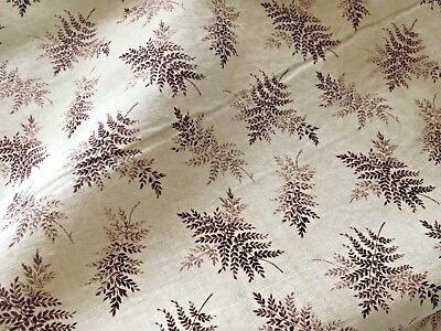 Antique Calico Textile Dress Quilt Material Variegated Brown FERN