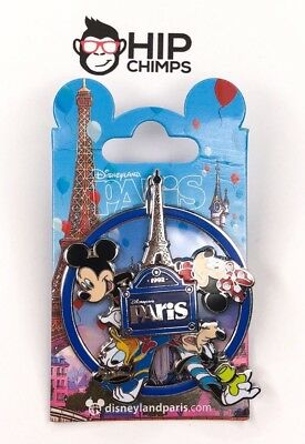 Disney Characters Eiffel Tower Spinning Authentic Trading Pin - Disneyland Paris