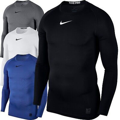 Nike Mens Pro Top Compression Long Sleeve Shirt Light Dry Training Gym Swoosh