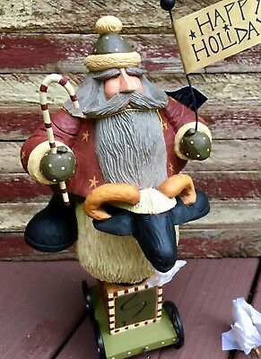 Williraye Studio Folk Art Rustic Country Santa Claus Riding Sheep Pull Toy NIB