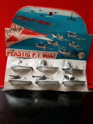 Vintage Toy Plastic P.t. Boat Set No. 555 Made In Hong Kong Miniatures Unopened
