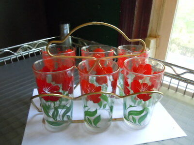 Vintage Swanky Swigs 6 Glass Set Red Flowers & Metal Holder Caddy Carrier