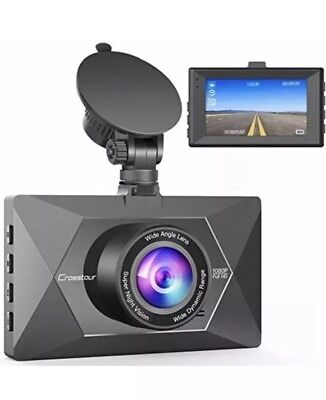 "Crosstour Dash Cam 1080P FHD Mini in Car Dashboard Camera with Park Mode 3"" LCD"