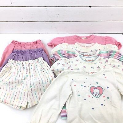Vintage Girls 4T Pastel Shorts & Tops Pink Lavender Kitty Flower 8 pc Healthtex