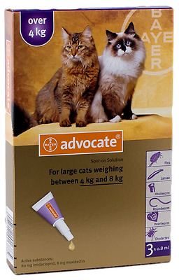 3 x 0.4mL ADVOCATE for large cats weighing between 4kg and 8kg