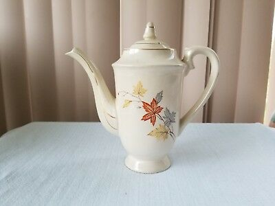 VINTAGE TEAPOT JAPAN WHITE With Leaves