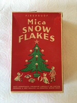 Vintage Box Mica  SNOW FLAKES Christmas  Great Graphics Partial Box