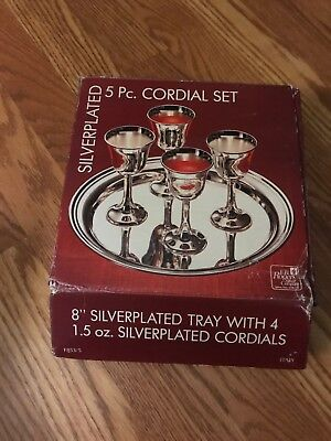 Vintage Silver plated coffee/cordial Set Of 4 & Tray ,F.B. Rogers Silver Co.