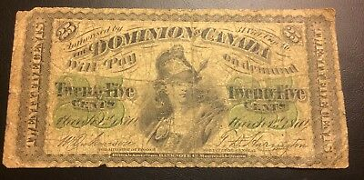 1870 Canada 25cent Note
