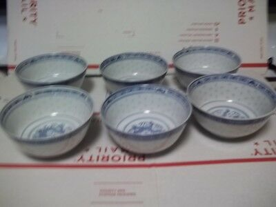 "Vintage Chinese Rice Eyes Dragon Pattern Blue & White Bowl, 4.5 "" Dia x 2.25"" H"