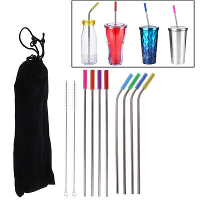 8Pcs Stainless Steel Metal Drinking Straw Reusable Straws + Cleaner Brush Safety