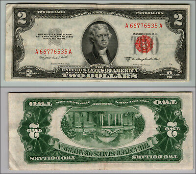 1953B $2 Dollar Bill Old Us Note Legal Tender Paper Money Currency Red Seal P605