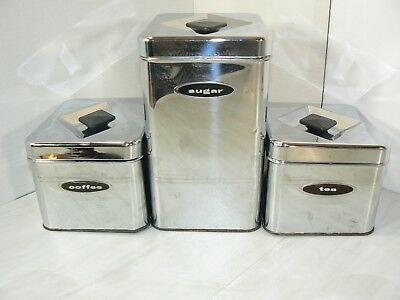 3 Vintage MASTERWARE Coffee Sugar Tea Canette Chrome Stainless Steel Canisters