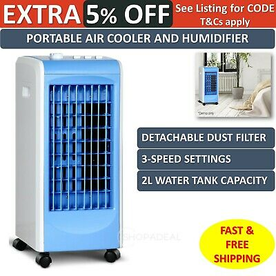 Portable Air Conditioner Cooler Humidifier 3 Speed Setting Energy Saving Blue