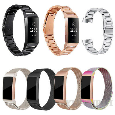 For Fitbit Charge 3 Stainless Steel Watch Band Magnetic Milanese Loop Band Strap
