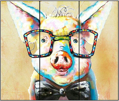 Hand Painted Modern Wall Colorful Happy Pig Animal Art Oil