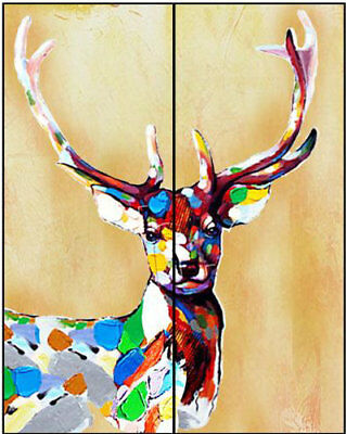 Hand Painted Colorful Deer Animal Oil Painting Canvas Morden Art Wall Home Decor