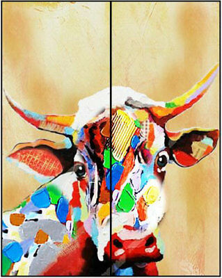 Colorful Cow Hand Painted Modern Abstract Wall Decor Animal