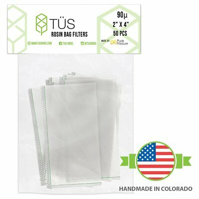"90 Micron Rosin Press Squish Bags 2"" x 4"" 50 Pack 90u Microns Filter Screen Made"