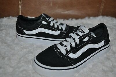 718fee78ed VANS Off The Wall YOUTH Black White Shoes Sneakers Suede Canvas KIDS SIZE 13