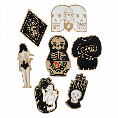 f0eb1fc8429 Funny gifts Death Badge Set Ghost Skeleton Skull Witch Enamel Brooch Lapel  Pins
