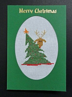 """Cross Stitch Card- """"Merry Christmas""""- (Completed card)"""