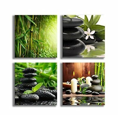 YPY Paintings Bamboo Green Pictures with SPA Zen Stone Candles Flower Print on