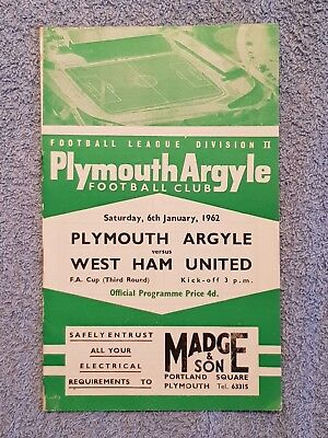 1962 - PLYMOUTH v WEST HAM UTD PROGRAMME - FA CUP 3RD ROUND - 61/62