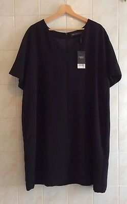 NEXT Black V-Neck Shift / Tunic Dress Size 20 (NEW) RRP £45