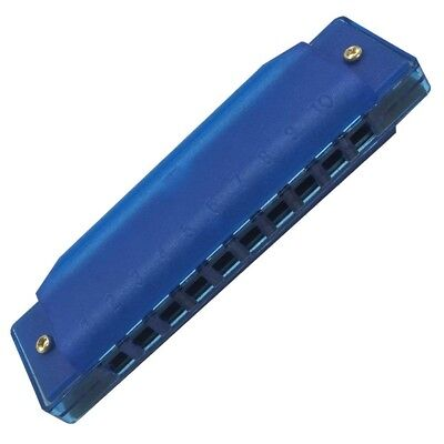 (Blue) - Fiouni 10 Hole Harmonica Key of C Diatonic Harmonica Mouth Organ with