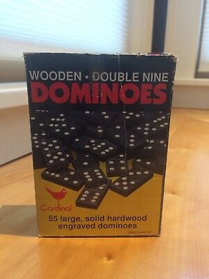 Vintage Black Wooden Double Nine Dominos Cardinal Brand Lot Of 55 Original Box