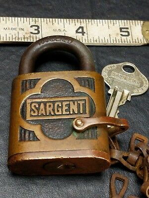 Antique Sargent Brass Padlock Lock with Chain & Original Key Pin Tumbler