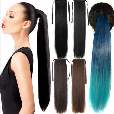 24'' Wrap on Clip in Ombre Straight Ponytail Hairpieces Synthetic Hair Extension