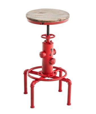 Topower American Antique Vintage Industrial Barstool Solid Wood Water Pipe Fire