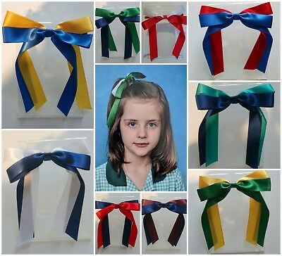 School Colour Hair Accessory Bow Satin Ribbon Ponytail Elastic Tie Netball Sport
