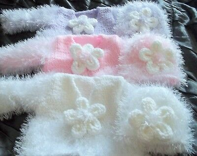 Gorgeous hand knitted fluffy matinee jacket- beanie hat 0-3 month/reborn 19-22in