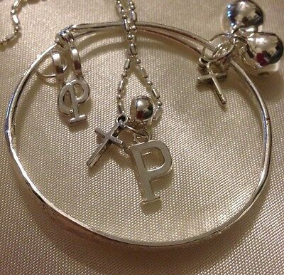 """Sterling Silver*16""""chain&925 Baby/Child/925 SlimBangle/Letter(P)&Cross/In a Box."""